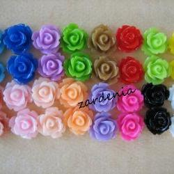 32PCS - Mini Rose Flower Cabochons - 10mm - Resin - Autumn 2012 Sampler - Cabochons by ZARDENIA